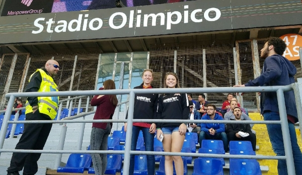 Julia Bornhorst (left) and Caroline Whitley (right) pose for a photo at Stadio Olympico in Rome, Italy, on their ACS trip last month.