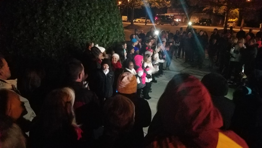 The Rooftop Christmas Tree.The Richmond Observer Foundation Reps Flip The Switch On