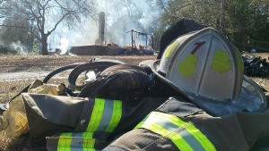 A burning house on Cartledge Creek Road was used for training for the Rockingham Fire Department on Monday.