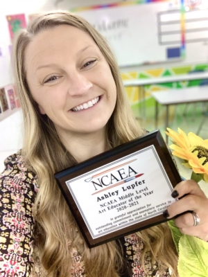 Ashley Lupfer, art teacher at Rockingham Middle School, was named North Carolina Art Education Association's 2020-2021 Middle Level Art Educator of the Year.