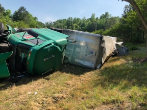 Tractor-Trailer Overturns on 74 By-Pass