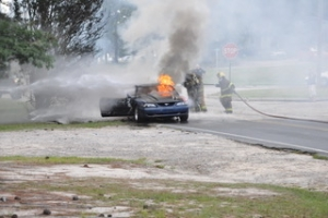ACCIDENT REPORT: Vehicle Catches Fire on Hwy 1 South