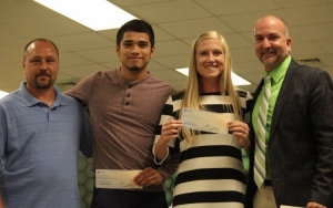 RSHS senior soccer plays Alex Alvarado (second from left) and Cassie McFayden receive the 2016-2017 RASL Scholarship.