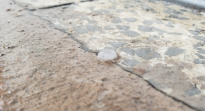 Pea-sized hail fell outside the Richmond Observer office during a Monday afternoon thunderstorm.