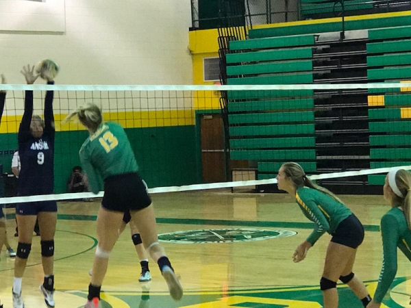 Senior outside hitter Altman Griffin drills one of her 18 kills during Wednesday's match against Anson.