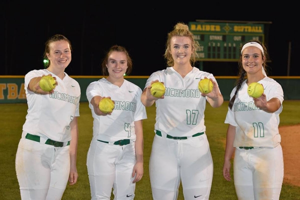 Taylor Parrish, Paige Ransom, Greyson Way and Kayla Hawkins combined for five homers in Thursday's win over Pinecrest.