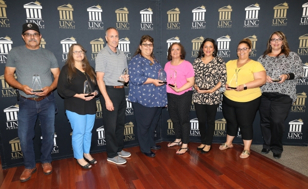 Stan Locklear, Donna Strickland, Mike Clawson, Kay Strickland, Kim Hunt, Engle Revels, Danielle Nie and Saprina Oxendine were recognized during the Staff Awards Ceremony on June 6, 2019.
