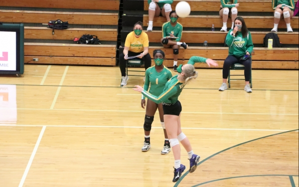 Senior Kelly Hoffman attempts a kill during the third set of Thursday's match against Pinecrest.