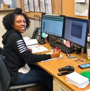 Richmond Community College student intern Shamesha Young performs administrative duties for Cascades such as data entry, filing and scanning.