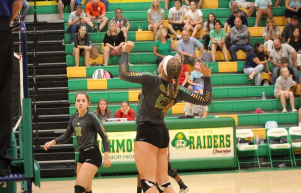 Senior Savannah Lampley (12) racked up 14 kills in Wednesday's 3-0 win over Anson High School.