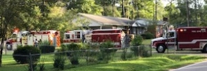 The site of a structure fire in Rockingham Tuesday.