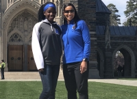 Allyiah Swiney and Duke head softball coach Marissa Young at her unofficial visit in March.