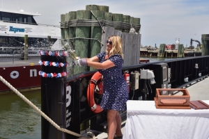 Hyde County Manager Kris Noble today christened the N.C. Department of Transportation's new vehicle ferry, the M/V Rodanthe. Friday's event also included a celebration of the inaugural season of NCDOT's new passenger ferry, the Ocracoke Express.