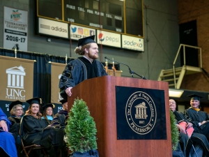 Thomas Crowe-Allbritton delivers remarks during UNC Pembroke's 2019 Winter Commencement.