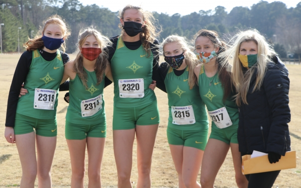 Left to right: Gabby Lutz, Rylie Bohman, Maylyn Wallace, Kaleigh Cloninger, Sheccid Heaton and Jessica Covington smile together before Saturday's Regional race.