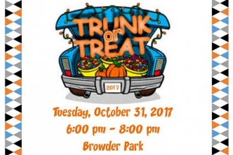 Trunk or Treat will be Tuesday, Oct. 31 at Browder Park.
