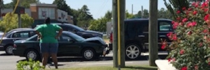 Image of multi-car wreck on U.S. Highway 74 near KFC.