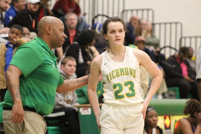 Junior guard Layne Maultsby (23) scored a career-high 14 points in Richmond's 46-38 win over Scotland Friday.