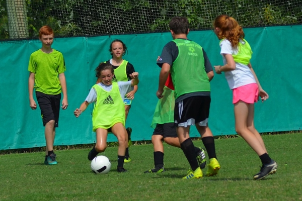 Campers work on small-sided games during RSHS' 19th annual soccer development camp.