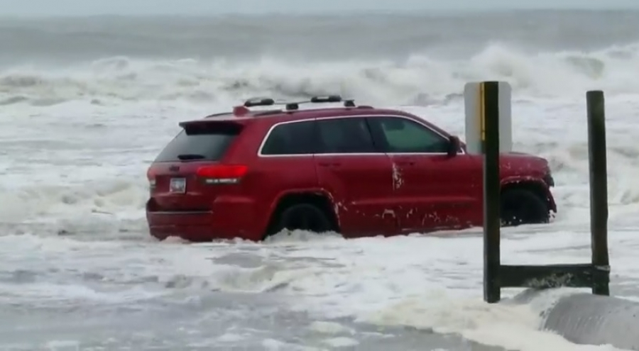 A Jeep Patriot stuck in the surf on Myrtle Beach became a meme sensation Thursday as Hurricane Dorian moved north just off the coast of South Carolina.