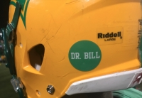 A photo of a Dr. Bill sticker on a Raider helmet during the 2018 season.