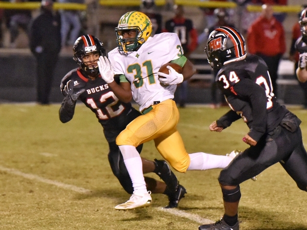 Junior running back Jaron Coleman (31) had two rushing touchdowns in Friday's win over Hoke County.