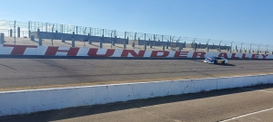 Jacksonville native Travis Miller roars down Thunder Alley during a Dec. 15 tire test at Rockingham Speedway. A race planned for March has been pushed back until October.