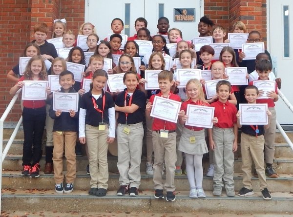 Fairview Heights Elementary students making the A Honor Roll, from left- Row 1: Dustin Heaton, Larissa Taylor, Victor Nguyen, Victor Pankey, Alyssa Weaver, Drew Stein and Caden Locklear.  Row 2: Annika Briggs, Bayden Bendell, Kyle Robinson, Braelyn Nettles, Sophia Garner, Aalyssa Chavis, Anna Stogner and Thomas Quick. Row 3: Kalynn McCormick, NaSean McBride, Sydney Ethridge, Aimee Lynne Dobson, Katelin Dominguez, Jordyn Walker, Shelby Barnhill, Annabelle Huff and Rayshawn Huff. Row 4: Caleb Miller, Grayson Roscoe, Diana McLester, Kamahri Johnson, Janashia Scott, Alissa Smith, Blake Gamble and Xavier Locklear.  Row 5: Jamison Cowan, Carley Gulledge, Andrew He, Will Smith, Christopher Pegues, Shakhiah Thomas and Brayden Mooneyhan. Absent from picture: River Bruce, Cardiyea Crank and Lydia Haber.
