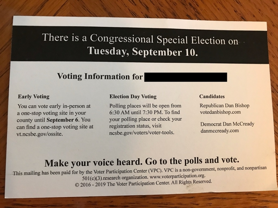 The Voter Participation Center sent out more than 180,000 of these postcards and letters for Get-Out-the-Vote efforts, which only list the two major party candidates in the 9th Congressional District race.