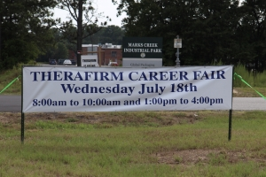 Career Fair Sign at entrance to Therafirm on 177 South of Hamlet