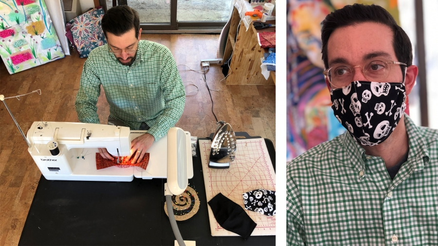 Richmond Community College art instructor Andrew Prieto sews together a mask that can be worn to help prevent the spread of COVID-19. He and his wife made over 100 masks and are donating them to FirstHealth of the Carolinas.