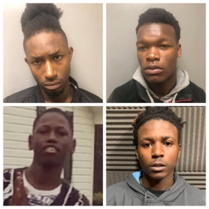 These four are accused of breaking into multiple vehicles across at least three counties last month. Clockwise, from left: Majuani Jackson, Devine Revels, Bobby Pearson Jr. and Jakob Slade.
