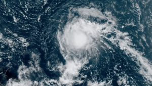 This image of Tropical Storm Josephine was captured on Thursday afternoon, August 13, 2020.