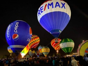 Hot air balloon festival floating to Rockingham Speedway
