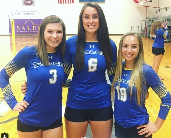 Left to right: Caitlyn Stallings (3), Madelyn Chappell (6) and Alexis Sunderland (19), all of whom are rising juniors at Salem College.