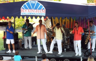 The Entertainers perform next to City Hall in Rockingham as part of the Plaza Jam Concert Series.