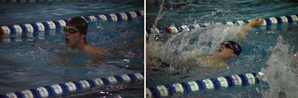 Richmond's Clint Snipes (left) and Brice Billingsley (right) in the pool Wednesday.