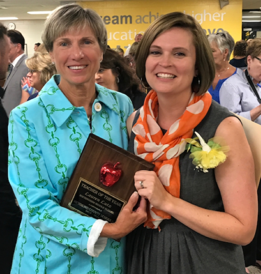 "Rockingham Middle's Lauren Lutz Named 2017 ""Teacher of the Year"""