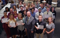 Pictured are the recipients of the Working Scholarship, which is the largest scholarship the Richmond Community College Foundation awards. The recipients are pictured with Dr. Dale McInnis, president of RCC.