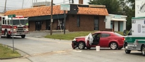 Photo of hit-and-run accident at Leak and S. Hancock Streets in Rockingham Monday evening.