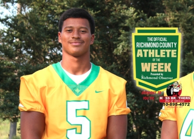 Junior quarterback Caleb Hood was named the Week 9 Official Richmond County Male Athlete of the Week, his second selection this season.