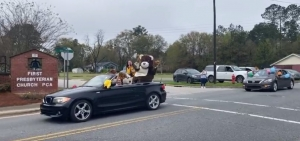 Teachers from Mineral Springs Elementary, along with the school's mascot, lead a parade through Ellerbe late Wednesday morning. See video at the bottom of this post.