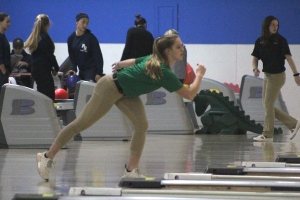 Senior Savannah Lampley was one of several bowlers to help the Richmond bowling team last Thursday.