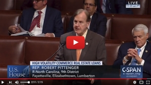 Robert Pittenger's bipartisan financial reform legislation was unanimously passed Tuesday.