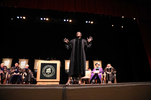 Motivational speaker Jovian Zayne implores students to be resilient during their academic journey at UNC Pembroke.