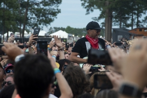 Guitarist Tom Morello plays in the crowd at the inaugural Epicenter Festival, held Mothers Day weekend at Rockingham Dragway.