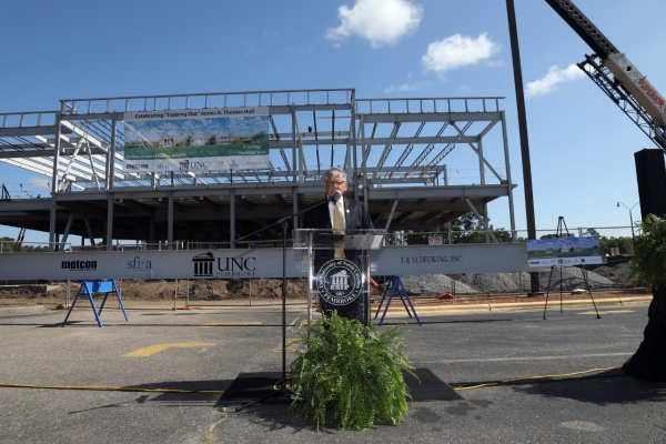 UNCP's Thomas School of Business building reaches construction milestone
