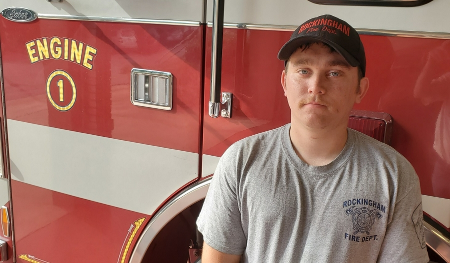 Noah Stubbs, who recently graduated high school and went through the fire training program, was hired this summer by the Rockingham Fire Department.