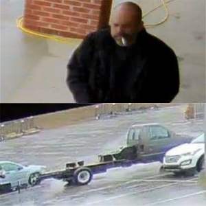 The Rockingham Police Department released these photos Tuesday of a man officers consider a person of interest in several theft cases and the vehicle he may have used.