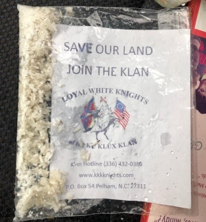 One of the many KKK flyers in a plastic bag with white rice that was found in Richmond County late last week.